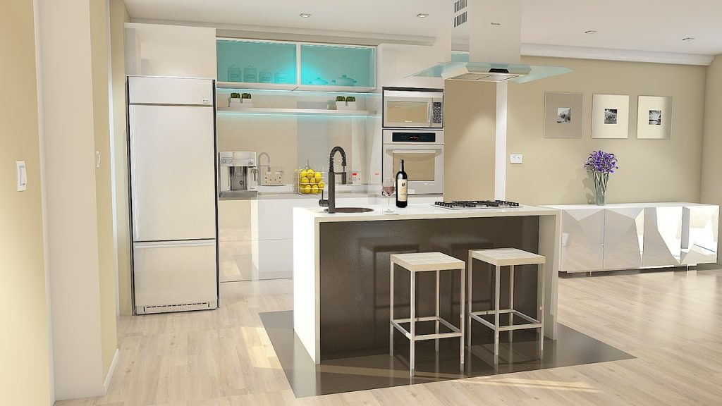 Beautiful white Furnished Kitchen