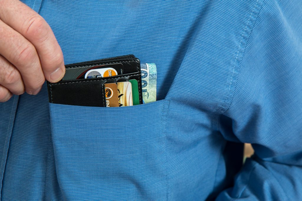 Wallet with credit card and bills